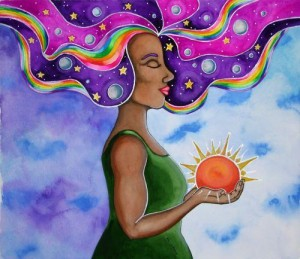 naturally beautifu woman painting