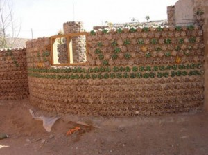 recycled bottles make a wall