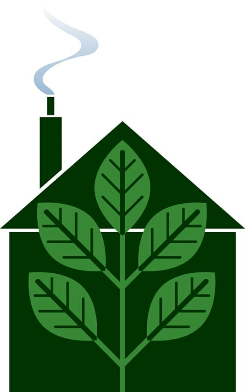 green building picture with leaves in house