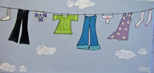 drawing of clothes on line for natural remedy for static cling