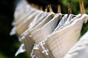 cloth diapers on a clothes line