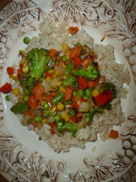 veggie stir fry and rice