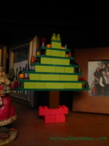 lego christmas tree decoration on shelf