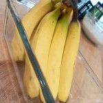 organic bananas in glass bread baking dish